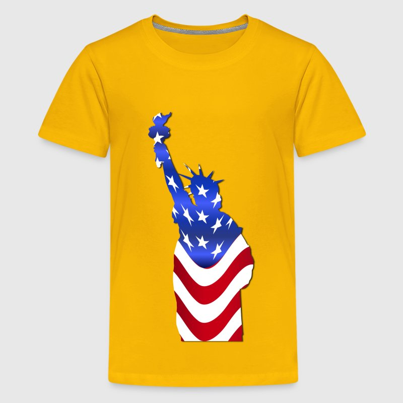 Statue Of Liberty Flag With Drop Shadow - Kids' Premium T-Shirt