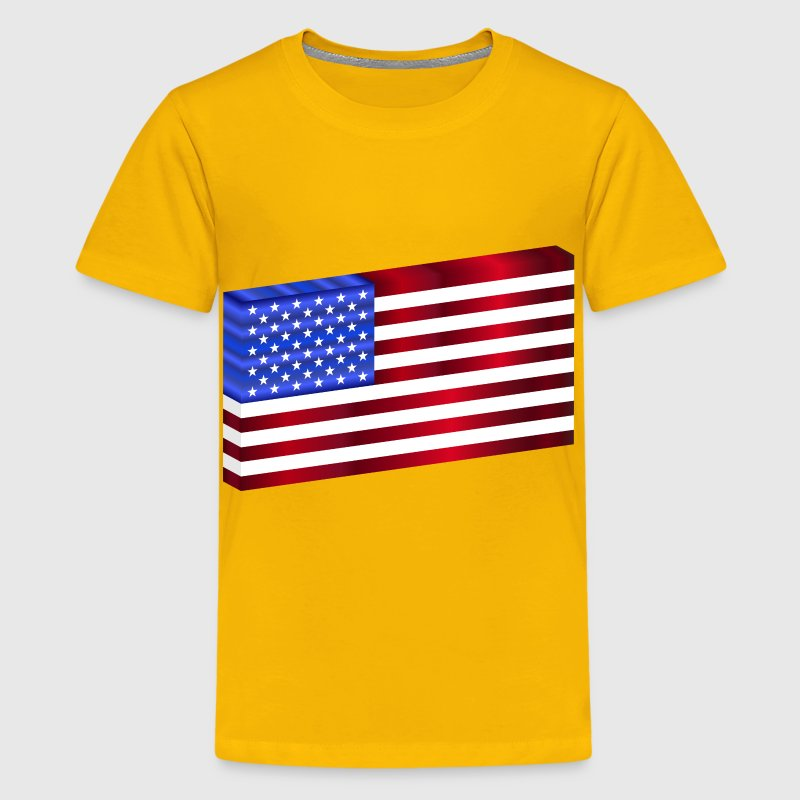 3D USA Flag - Kids' Premium T-Shirt