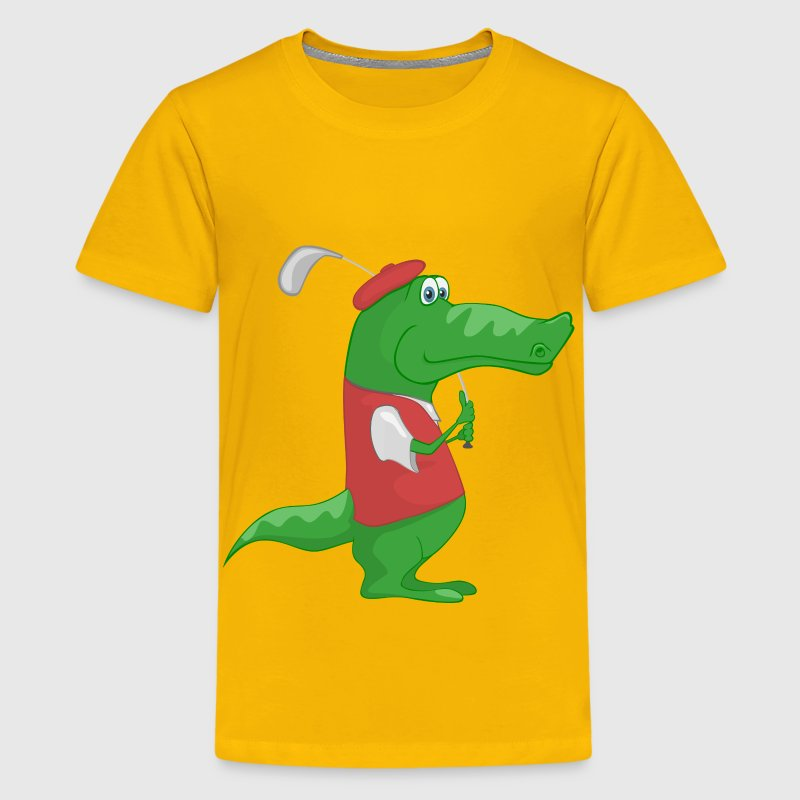 Crocodile Playing Golf - Kids' Premium T-Shirt