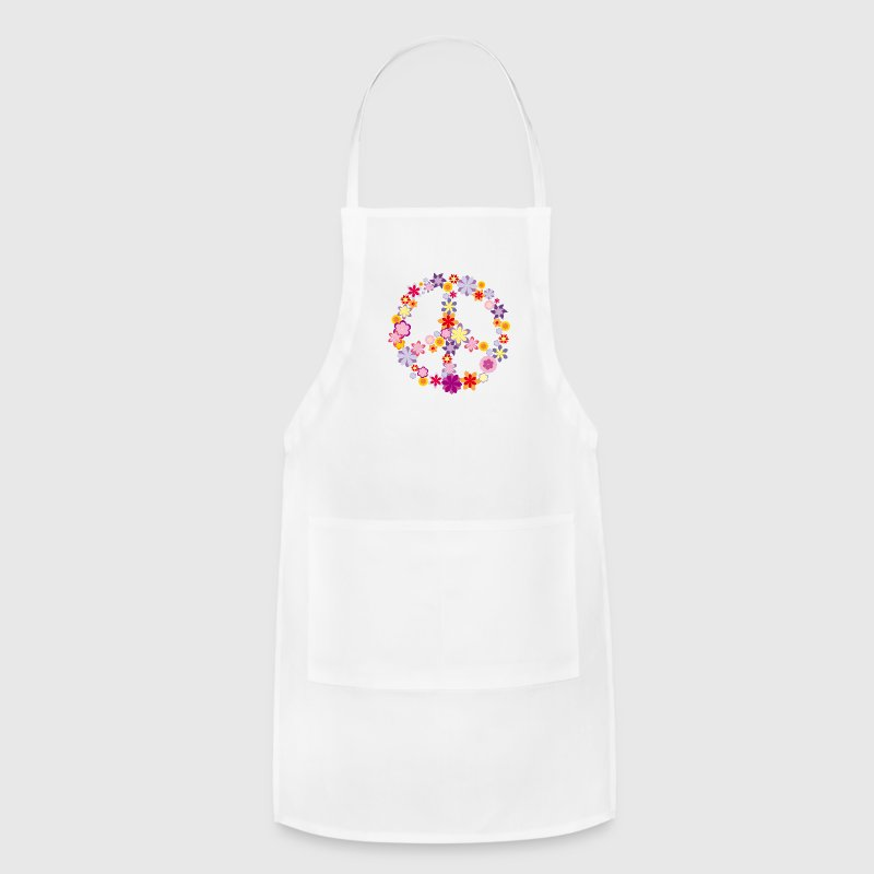 Peace symbol with flowers Aprons - Adjustable Apron