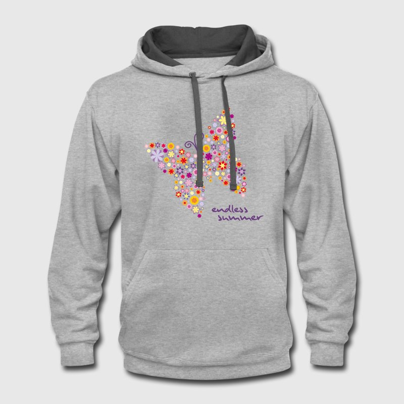 Flower Butterfly Endless Summer Hoodies - Contrast Hoodie