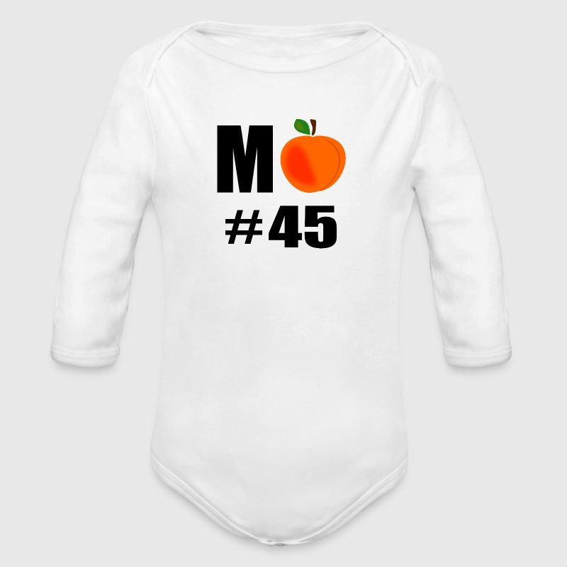 M Peach Number 45 With Big Peach - Long Sleeve Baby Bodysuit