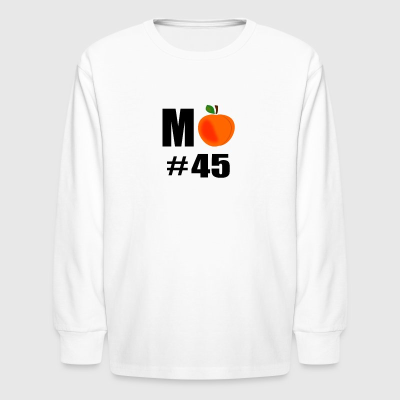 M Peach Number 45 With Big Peach - Kids' Long Sleeve T-Shirt