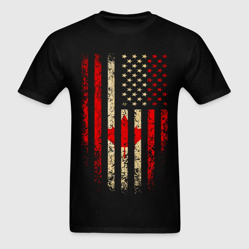 Canada US Flag Grunge T-Shirts - Men's T-Shirt