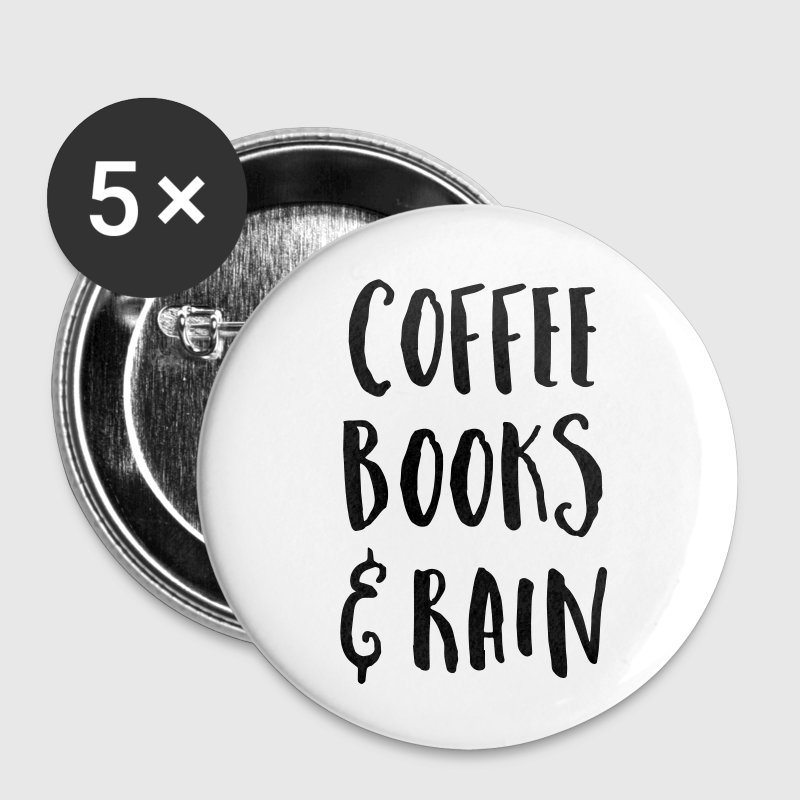 Coffee, Books & Rain Quote Buttons - Small Buttons