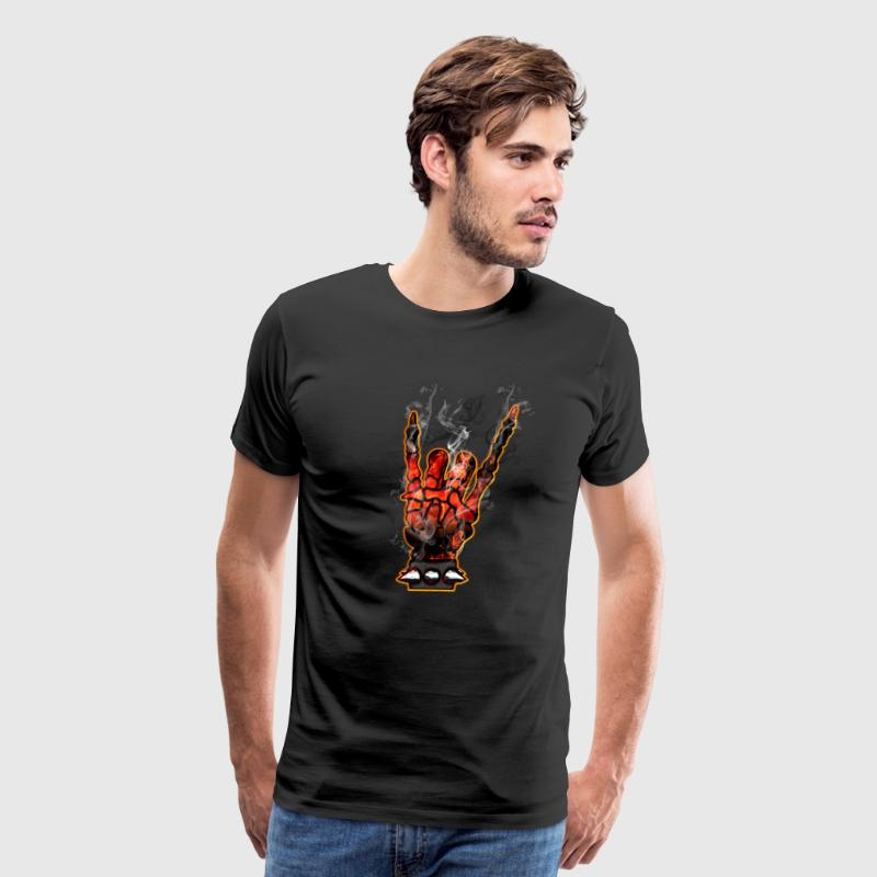 METAL HORNS - hell smoke - Men's Premium T-Shirt