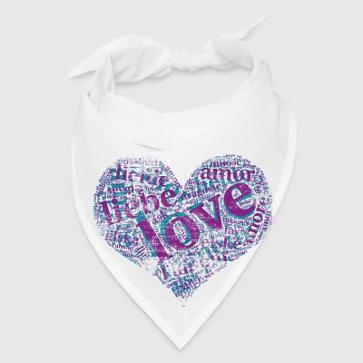 violet grunge heart LOVE in different languages Aprons - Bandana