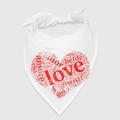 red grunge heart LOVE in different languages Aprons - Bandana