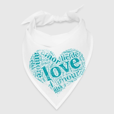 mint green heart LOVE in different languages Aprons - Bandana