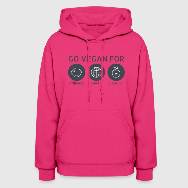 Go Vegan For Animals, Earth and Health Hoodies - Women's Hoodie