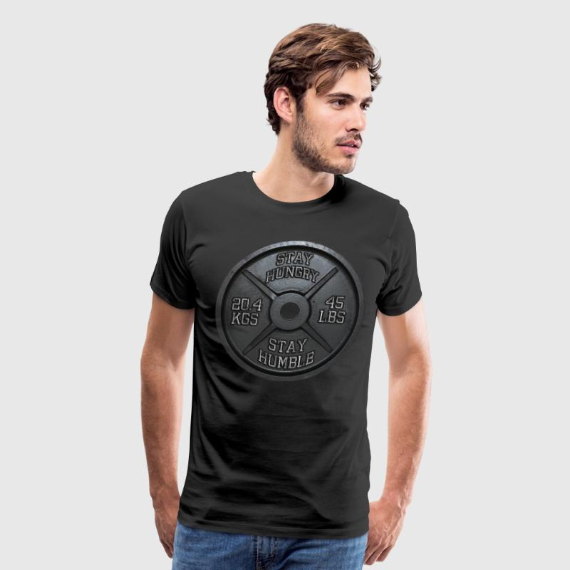 Stay Hungry, Stay Humble - Barbell Plate T-Shirts - Men's Premium T-Shirt