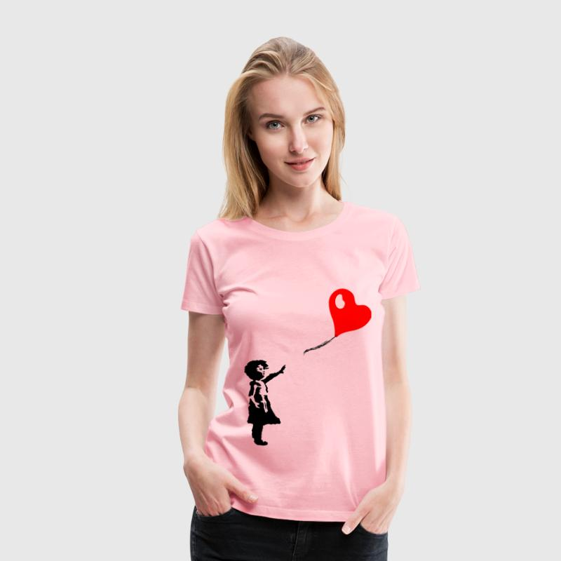 Little Girl And Heart Shaped Balloon - Women's Premium T-Shirt
