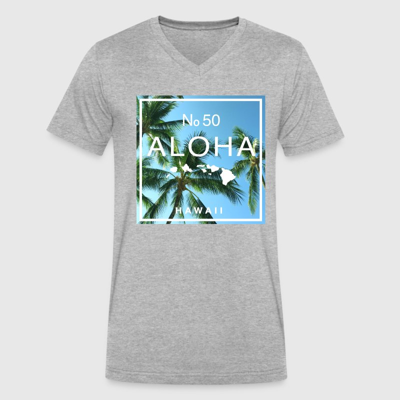 Aloha Hawaii Swaying Palm Tree Shirt - Men's V-Neck T-Shirt by Canvas