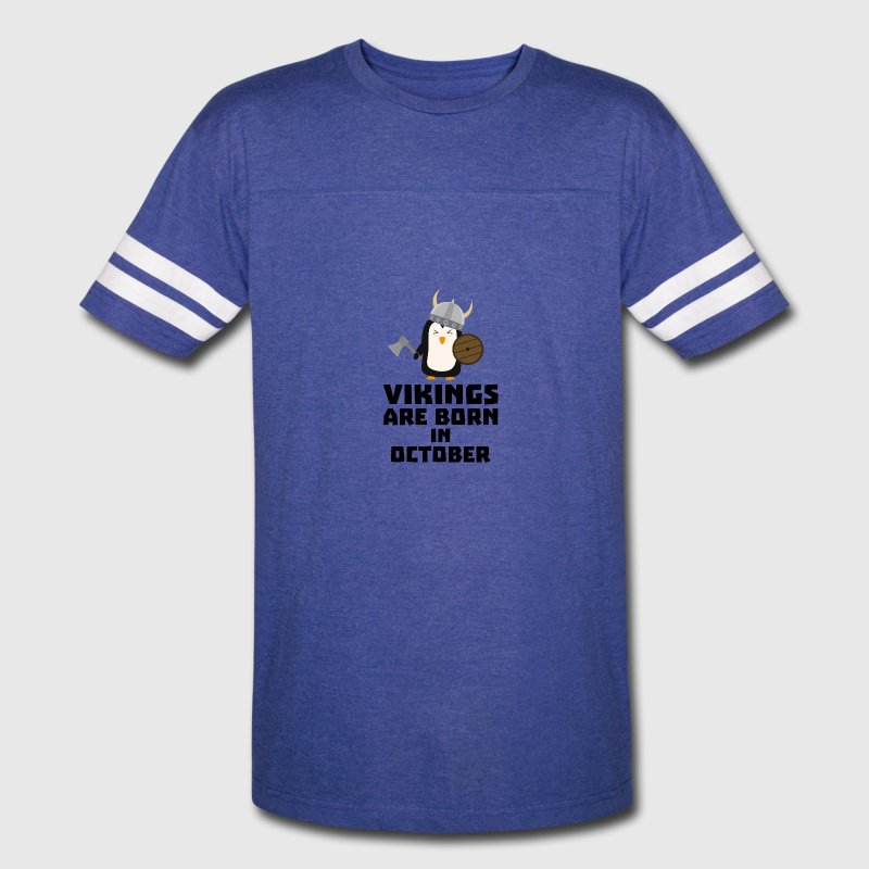 Vikings are born in October Svb06 T-Shirts - Vintage Sport T-Shirt