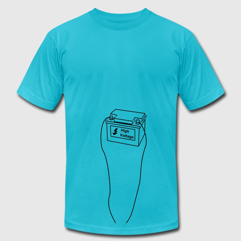 battery, high voltage, low current, high voltage, power, electricity, penis, cock, Member T-Shirts - Men's T-Shirt by American Apparel