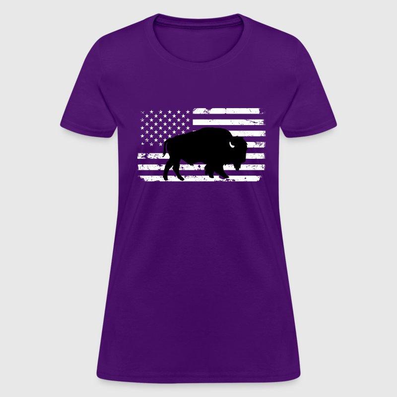 Usa flag and wild buffalo t shirt spreadshirt for Custom t shirts buffalo ny