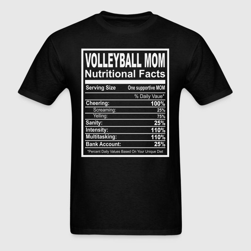 Volleyball Mom Nutritional Facts T-Shirts - Men's T-Shirt