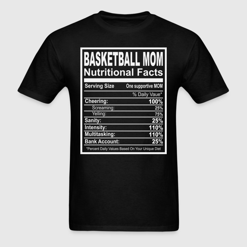 Basketball Mom Nutritional Facts T-Shirts - Men's T-Shirt