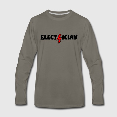 Electrician with a Lightning T-Shirts - Men's Premium Long Sleeve T-Shirt