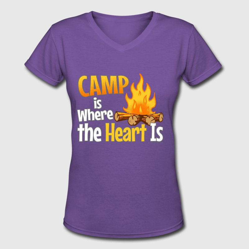 Camp is Where the Heart is Long Sleeve Shirts - Women's V-Neck T-Shirt
