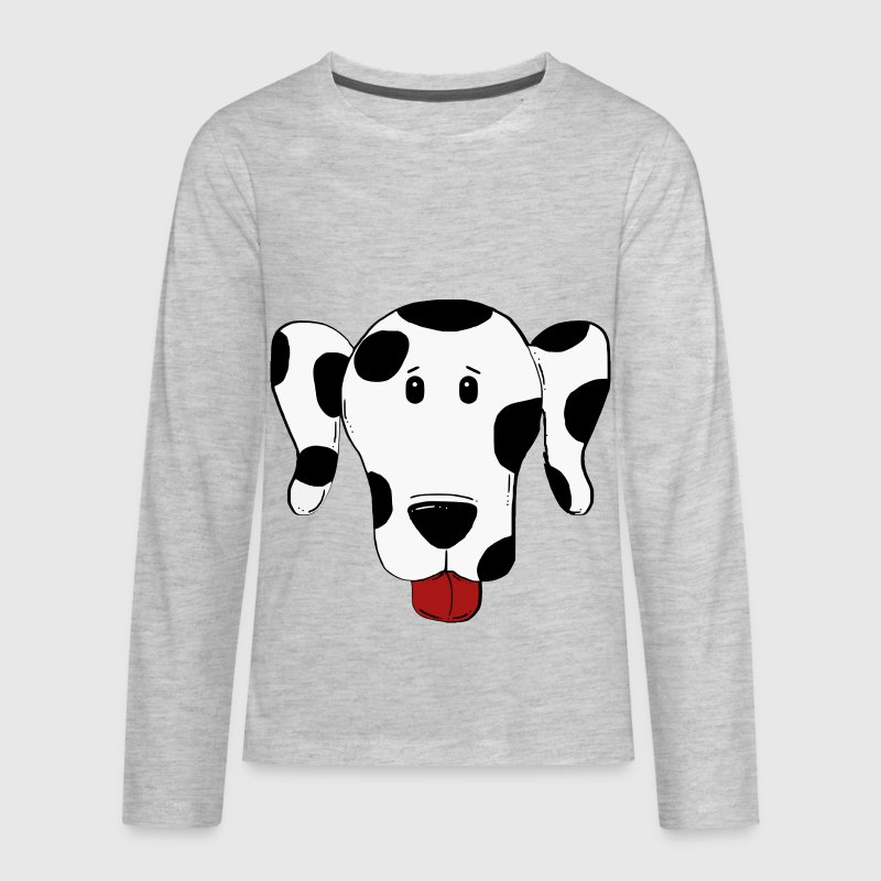 dalmatian black spots cartoon head - Kids' Premium Long Sleeve T-Shirt
