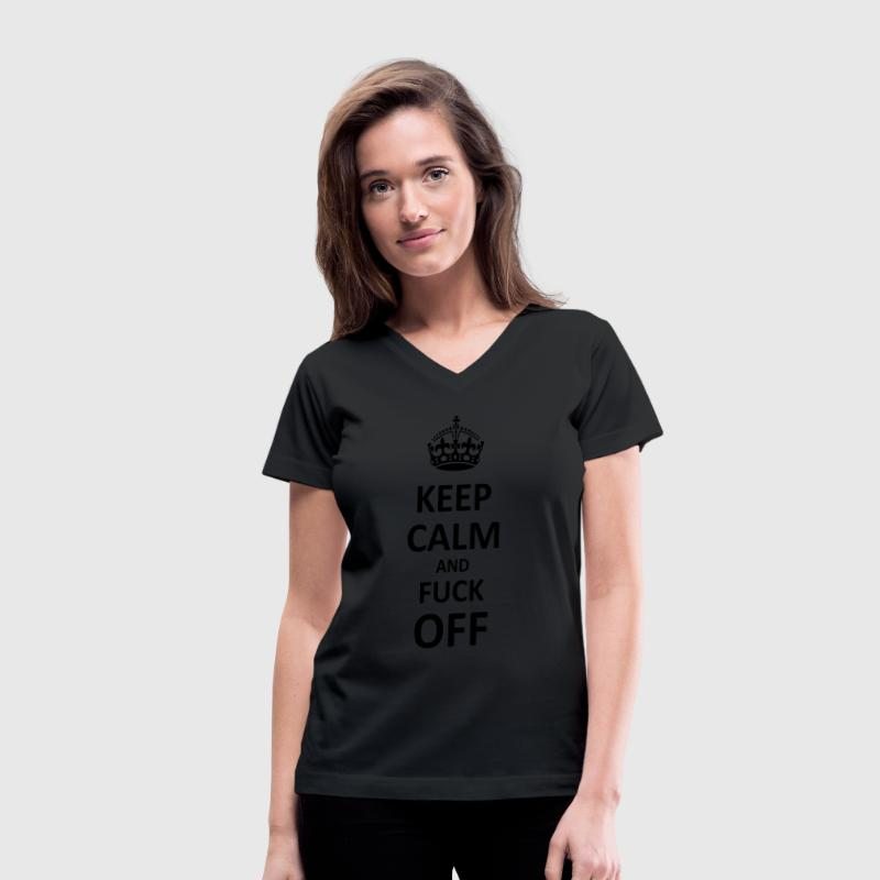 Keep Calm and Fuck Off (Black) Women's T-Shirts - Women's V-Neck T-Shirt