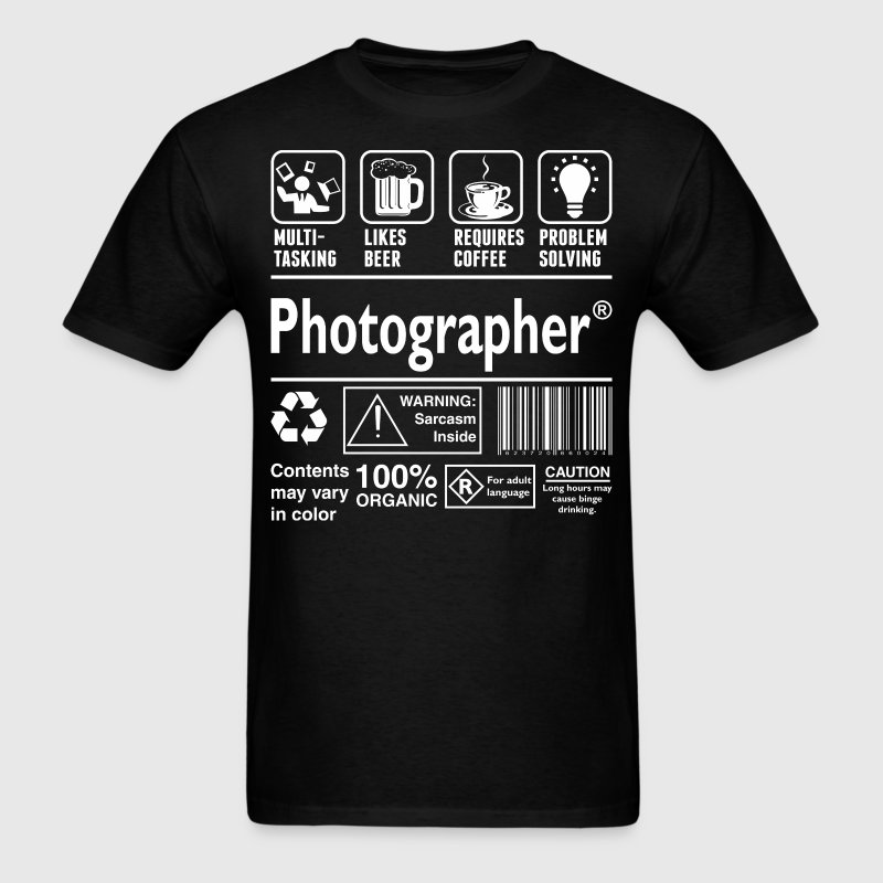 Photographer Multitasking Beer Coffee Problem - Men's T-Shirt