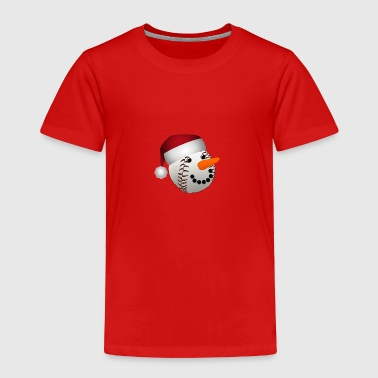 Christmas Baseball Snowman - Toddler Premium T-Shirt