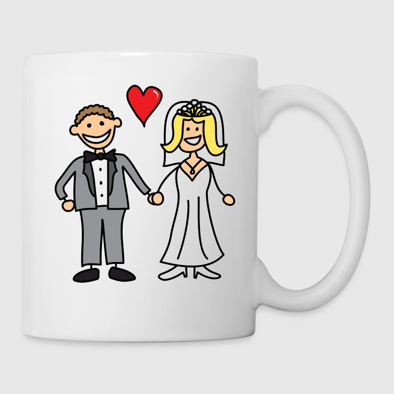 Bride and Groom Cartoon - Add Your Own Text Gift - Coffee/Tea Mug