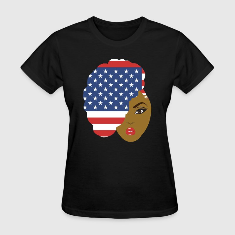 Patriotic Side Natural Hair Afro for Black Women - Women's T-Shirt