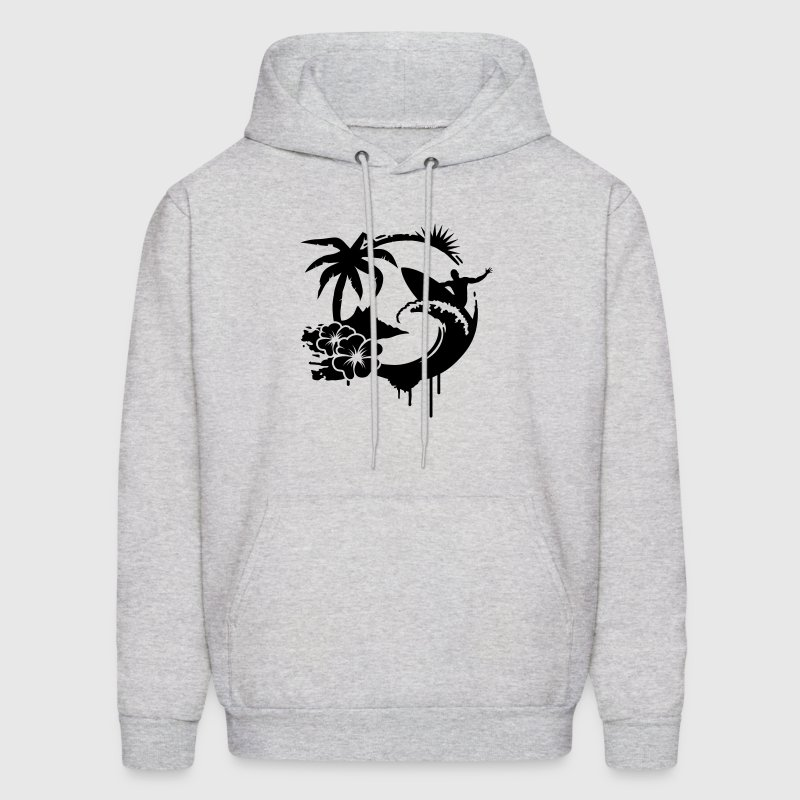 Surfing graffiti - Palm, hibiscus, island, wave and surfer with surfboard  Hoodies - Men's Hoodie