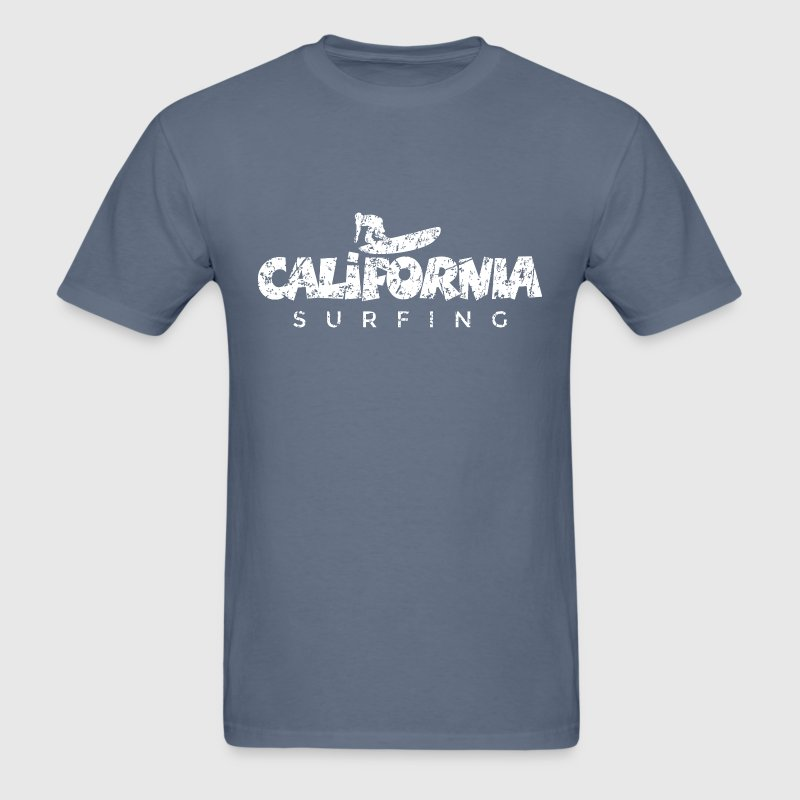 California Surfing Distressed White T-Shirts - Men's T-Shirt