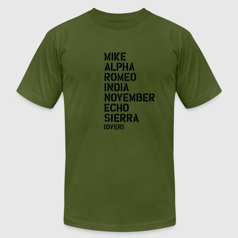 Mike Alpha Romeo India... over - MARINES T-Shirts - Men's T-Shirt by American Apparel