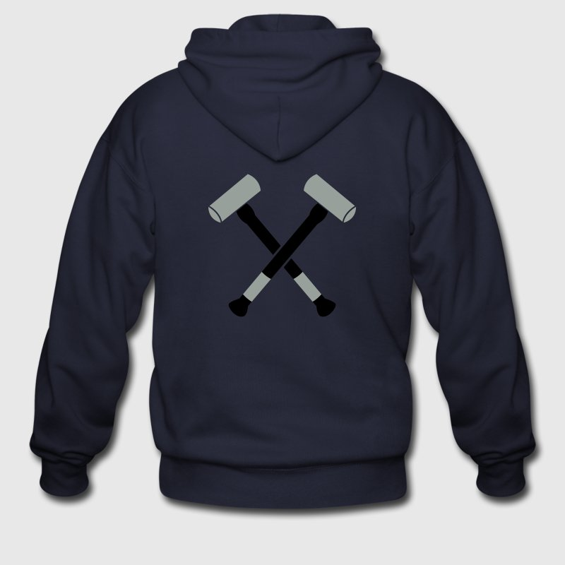 double crossed crossbones two sledgehammer hammers Zip Hoodies/Jackets - Men's Zip Hoodie