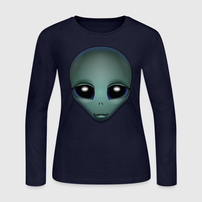 Friendly Alien Shirt Women's Alien Grey Shirts ET Gifts - Women's Long Sleeve Jersey T-Shirt