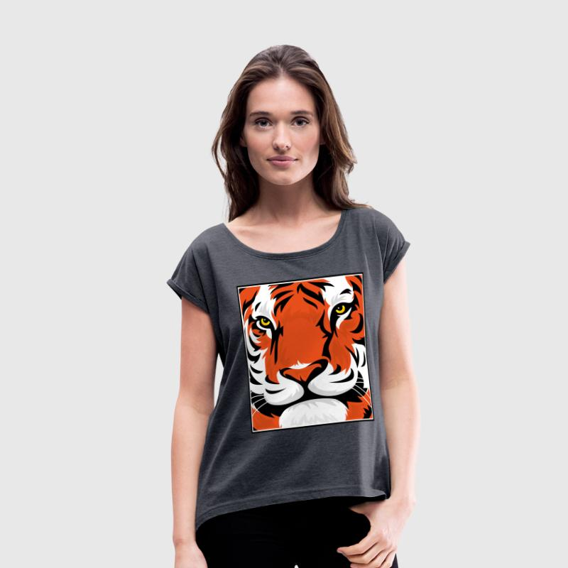 Tiger Graphic Face T-Shirts - Women's Roll Cuff T-Shirt