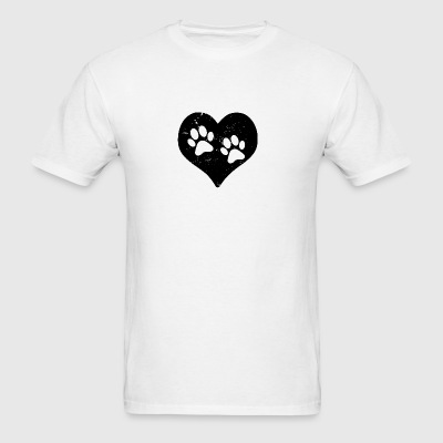 Heart Paw Paws Dog Cat Love black Sportswear - Men's T-Shirt