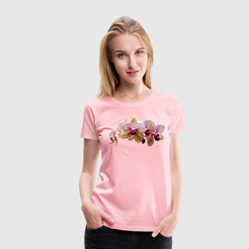 Pink And Yellow Striped Orchids T Shirt Spreadshirt