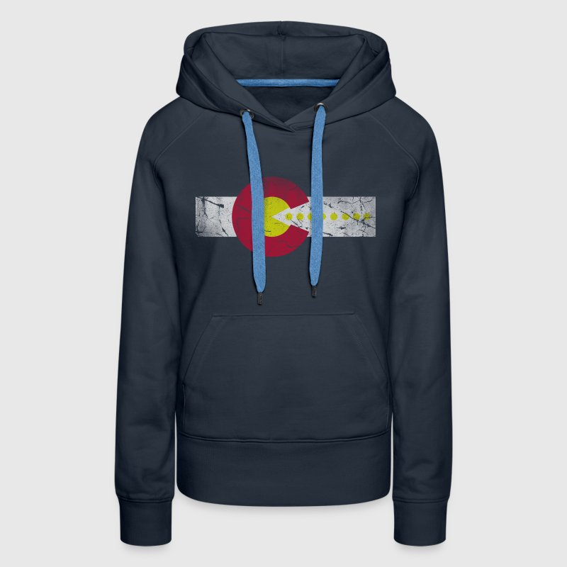 Retro 80s Flag of Colorado Hoodies - Women's Premium Hoodie