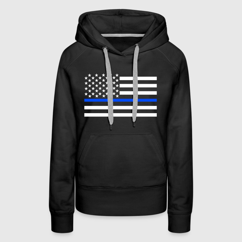 Thin Blue Line Flag Shirt - Women's Premium Hoodie