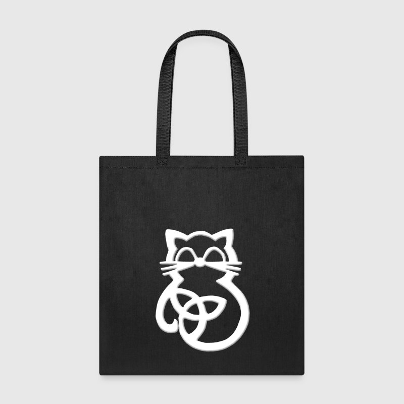 White Trinity Knot Celtic Cat Tote Bag - Tote Bag
