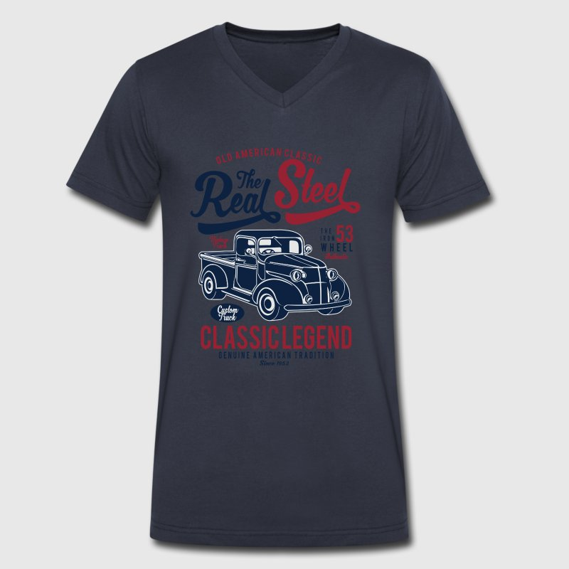 The Real Steel - Classic Legend, Vintage Car T-Shirts - Men's V-Neck T-Shirt by Canvas