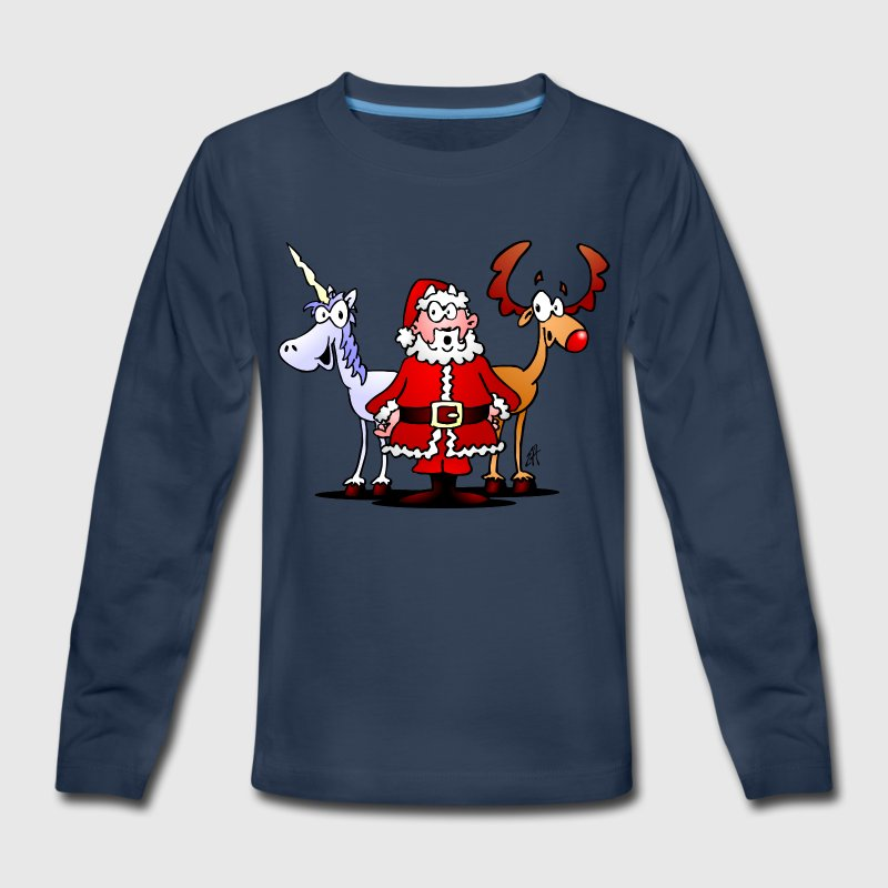 Santa, reindeer, unicorn Kids' Shirts - Kids' Premium Long Sleeve T-Shirt