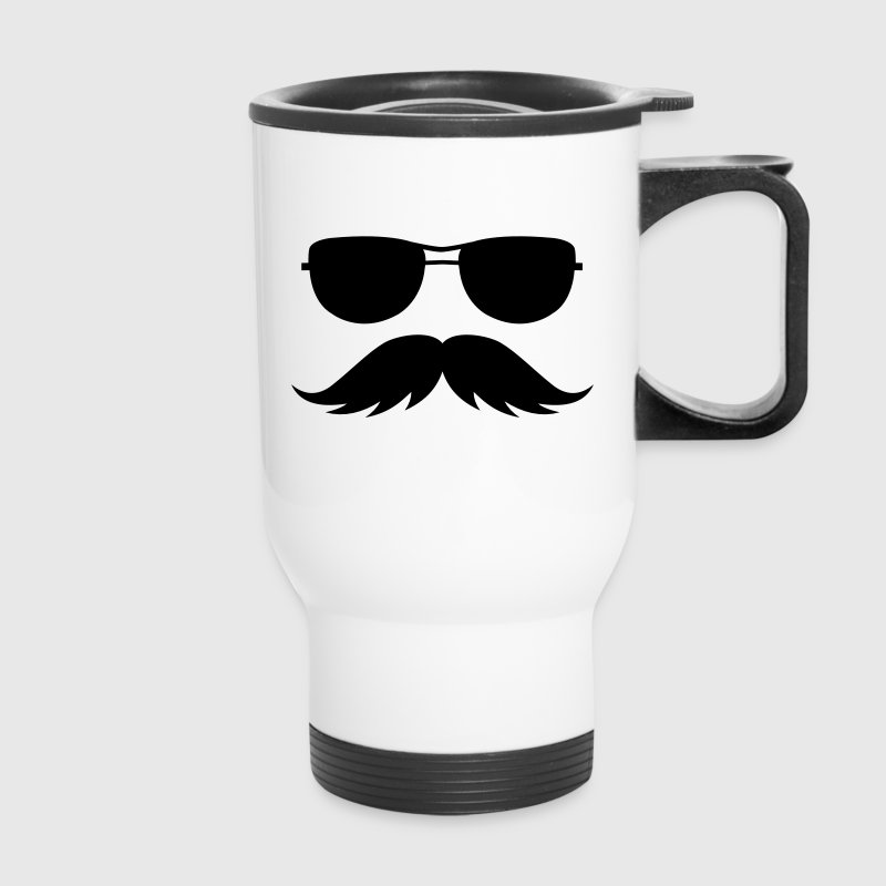 sunglasses and mustache Accessories - Travel Mug