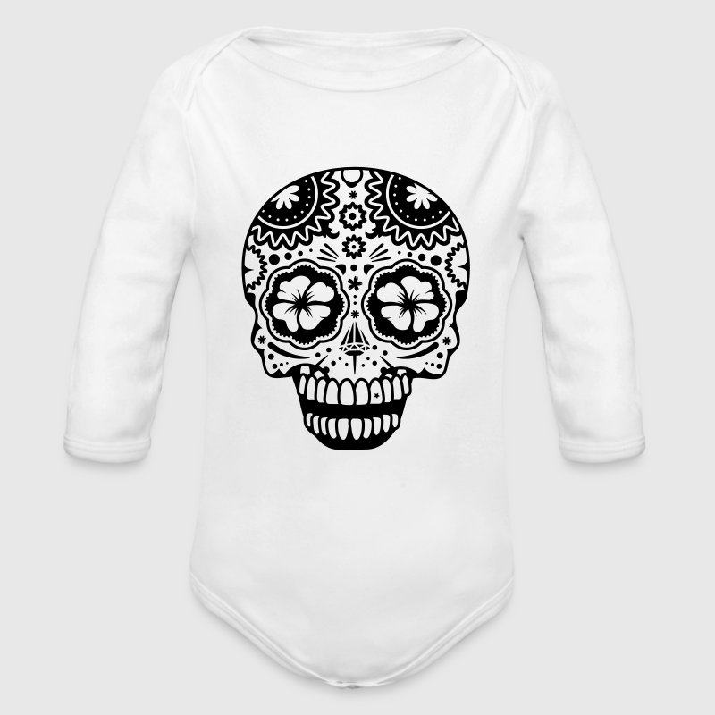 A laughing skull in the style of Sugar Skulls Baby & Toddler Shirts - Long Sleeve Baby Bodysuit