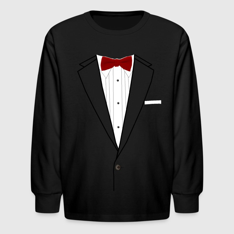 Tuxedo Red Bowtie Kids' Shirts - Kids' Long Sleeve T-Shirt