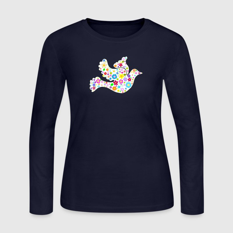 White Dove of Flowers and Peace Long Sleeve Shirts - Women's Long Sleeve Jersey T-Shirt