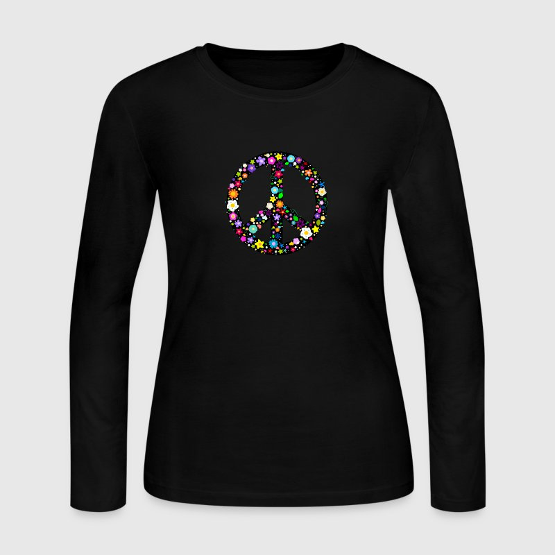 Floral Peace Sign Long Sleeve Shirts - Women's Long Sleeve Jersey T-Shirt