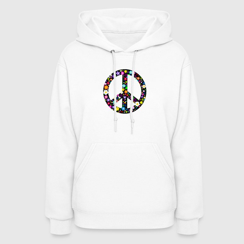 Floral Peace Sign Hoodies - Women's Hoodie