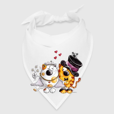 Cat Wedding With Hearts - Gift - Marriage - Couple Mugs & Drinkware - Bandana